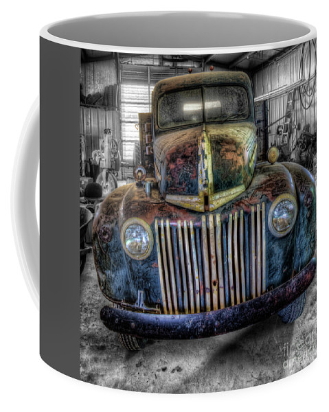 Old Truck Coffee Mug featuring the photograph Winter Project by Randy Waln