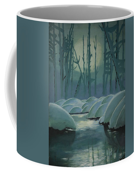 River Coffee Mug featuring the painting Winter Quiet by Jacqueline Athmann