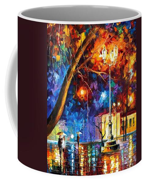 Afremov Coffee Mug featuring the painting Winter Rain by Leonid Afremov