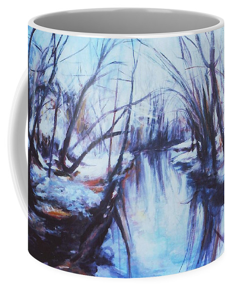 Landscape Coffee Mug featuring the painting Winter Reflections by Sheila Holland