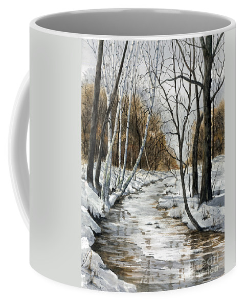 Minnesota Coffee Mug featuring the painting Winter River by Mary Tuomi