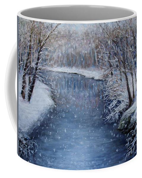 Landscape Coffee Mug featuring the painting Winter River by Susan Jenkins