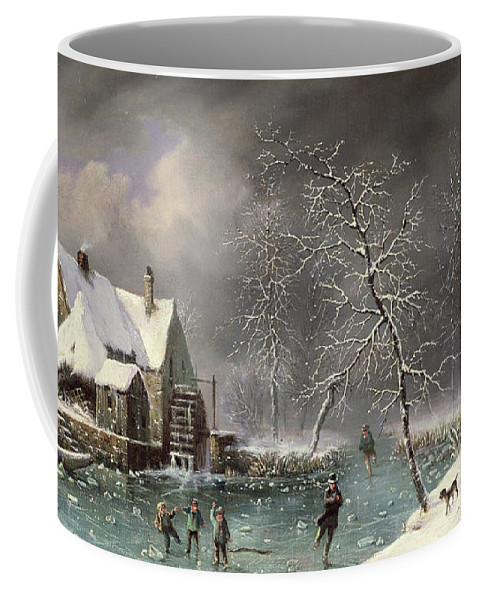 Winter Scene By Louis Claude Mallebranche (1790-1838) Coffee Mug featuring the painting Winter Scene by Louis Claude Mallebranche