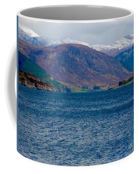 Loch Broom Coffee Mug featuring the photograph Winter Snow Caps At Loch Broom by Joan-Violet Stretch