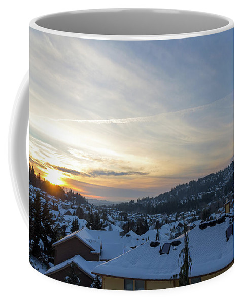 Happy Valley Coffee Mug featuring the photograph Winter Snow In Happy Valley Oregon by Jit Lim