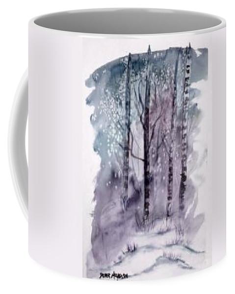 Watercolor Landscape Painting Coffee Mug featuring the painting WINTER snow landscape painting print by Derek Mccrea