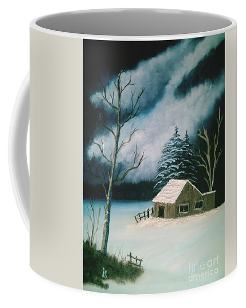 Winter Landscape Coffee Mug featuring the painting Winter Solitude by Jim Saltis