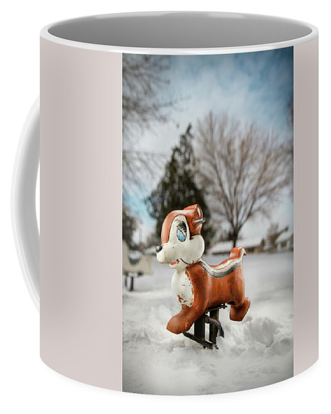 Blue Coffee Mug featuring the photograph Winter Squirel by Yo Pedro