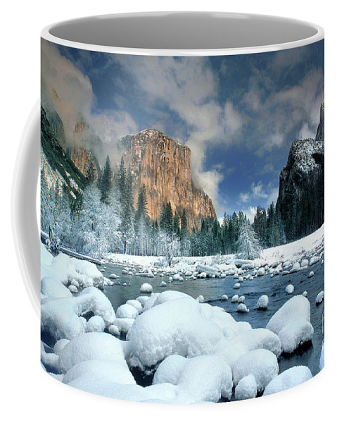 Yosemite National Park; California; United States; North America; Np; Gates Of The Valley Coffee Mug featuring the photograph Winter Storm In Yosemite National Park by Dave Welling