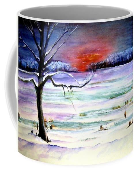 Ice Coffee Mug featuring the painting Winter Sun by Sandy Ryan