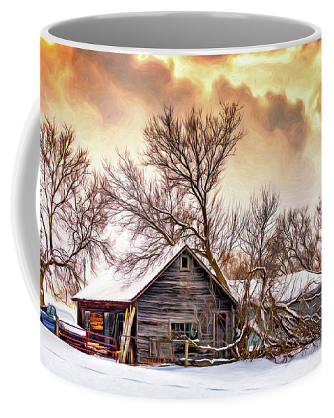 Winter Coffee Mug featuring the photograph Winter Thoughts 2 - Paint by Steve Harrington