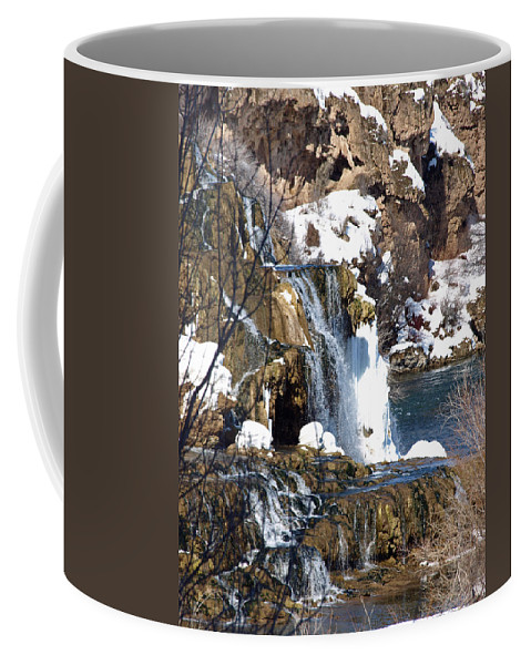 Nature Coffee Mug featuring the photograph Winter Time At The Falls by DeeLon Merritt