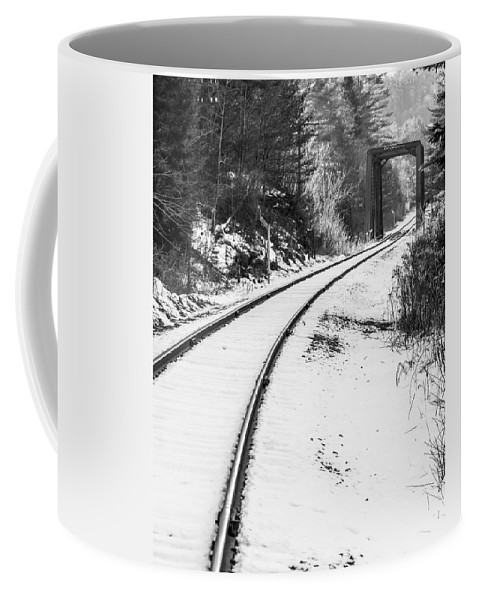Railroad Coffee Mug featuring the photograph Winter Tracks by Tim Kirchoff