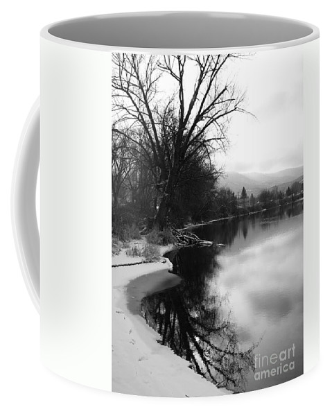 Black And White Coffee Mug featuring the photograph Winter Tree Reflection - Black and White by Carol Groenen
