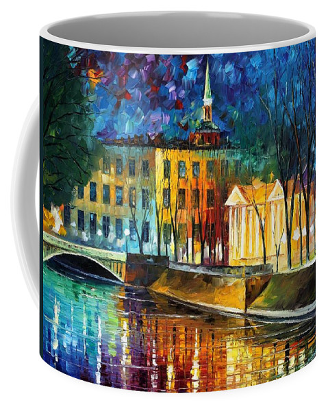 Afremov Coffee Mug featuring the painting Winter Vibrations by Leonid Afremov