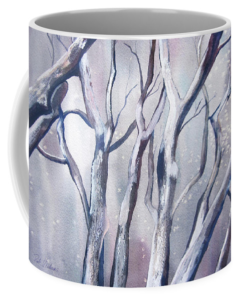 Landscape Coffee Mug featuring the painting Winter Woods by Pat Vickers