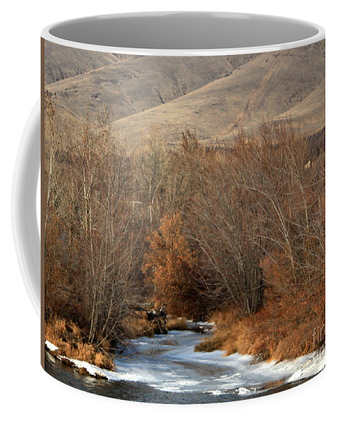 Yakima Coffee Mug featuring the photograph Winter Yakima River With Hills And Orchard by Carol Groenen