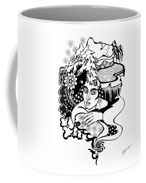 Snow Coffee Mug featuring the drawing Winter by Yelena Tylkina