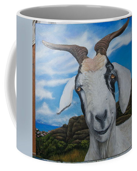 Coffee Mug featuring the painting Wip 2- Goats Of St. Martin by Cindy D Chinn