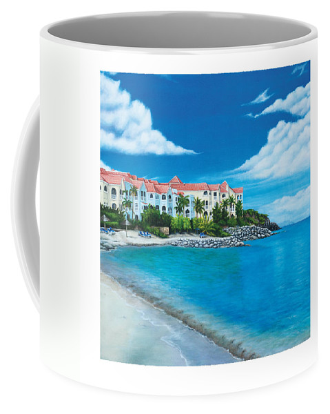 Coffee Mug featuring the painting Wip Divi Little Bay Beach by Cindy D Chinn