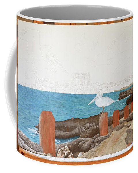 Coffee Mug featuring the painting Wip- Pelican 01 by Cindy D Chinn