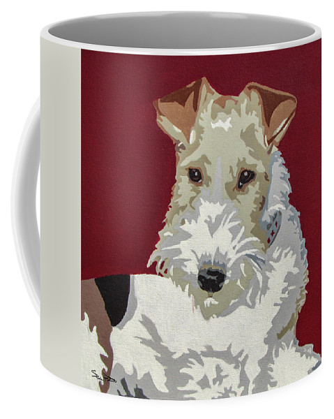 Wire Fox Terrier Coffee Mug featuring the painting Wirehaired Fox Terrier by Slade Roberts