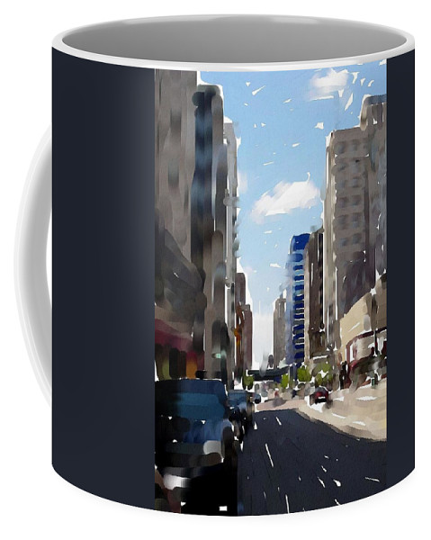 Milwaukee Coffee Mug featuring the digital art Wisconsin Ave 2 by Anita Burgermeister