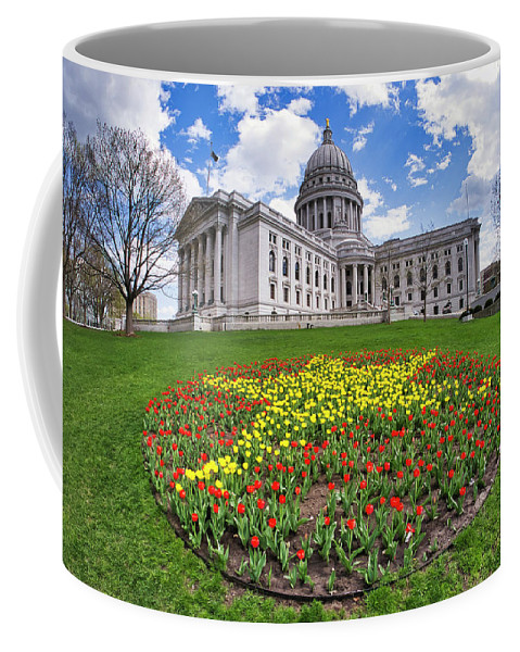 Wi Coffee Mug featuring the photograph Wisconsin Capitol And Tulips by Steven Ralser