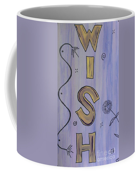 Wish Coffee Mug featuring the mixed media Wish Acrylic Watercolor by LKB Art and Photography