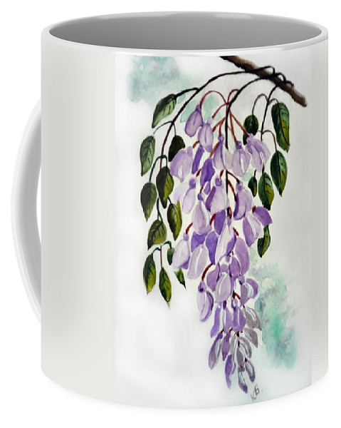 Floral Paintings Flower Paintings Wisteria Paintings Botanical Paintings Flower Purple Paintings Greeting Card Paintings  Coffee Mug featuring the painting Wisteria by Karin Dawn Kelshall- Best