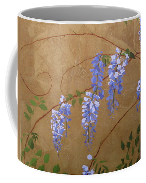 Periwinkle Wisteria Flowers Coffee Mug featuring the painting Wisteria by Leah Tomaino