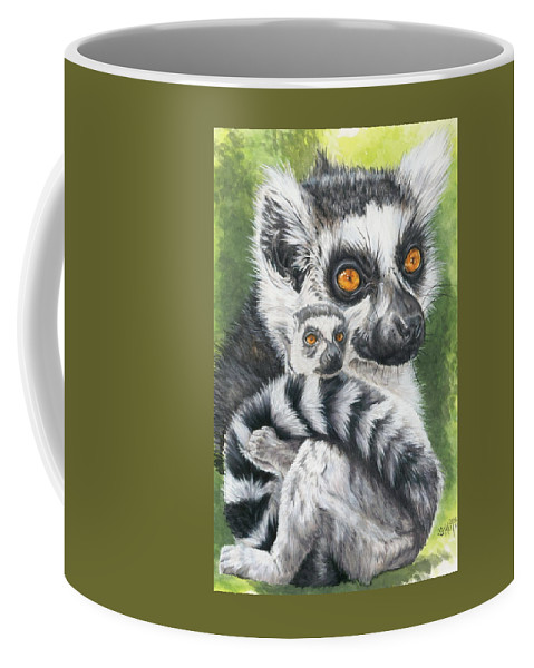 Lemur Coffee Mug featuring the mixed media Wistful by Barbara Keith