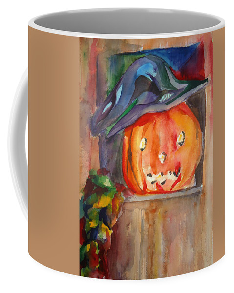 Halloween Coffee Mug featuring the painting Witch Pumpkin by Charme Curtin