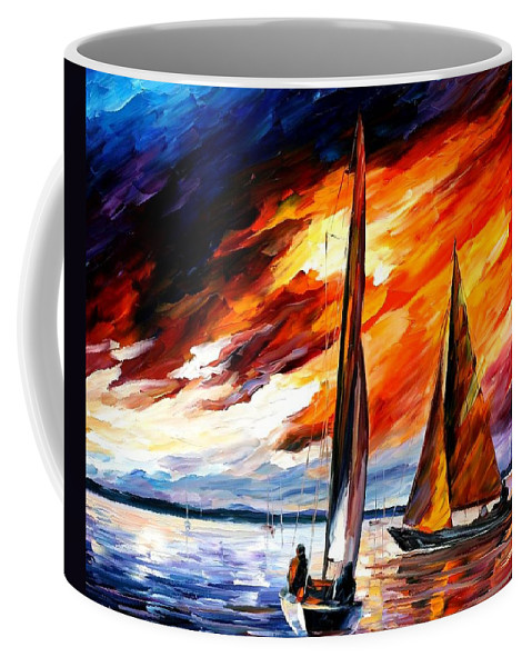 Afremov Coffee Mug featuring the painting With The Wind by Leonid Afremov