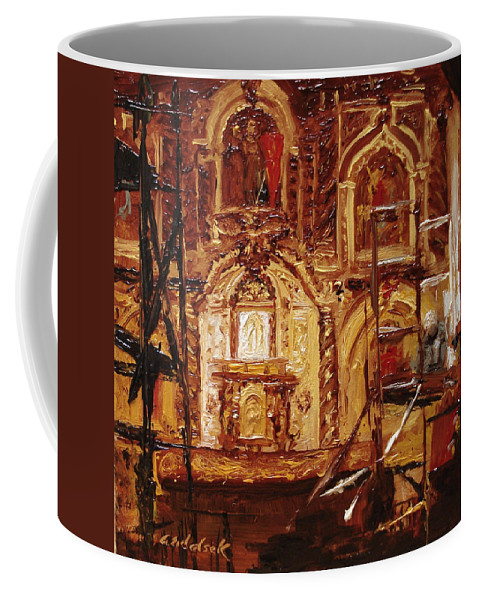 Chapel Coffee Mug featuring the painting Within The Scaffold by Barbara Andolsek