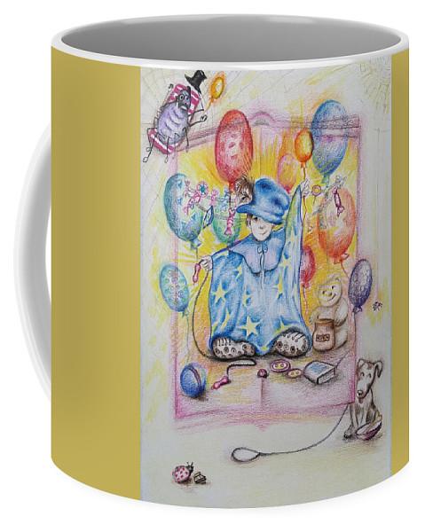 Children Coffee Mug featuring the drawing Wizard Boy by Rita Fetisov