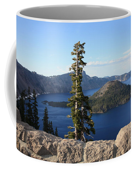 Wizard Island Coffee Mug featuring the photograph Wizard Island With Rock Fence At Crater Lake by Carol Groenen