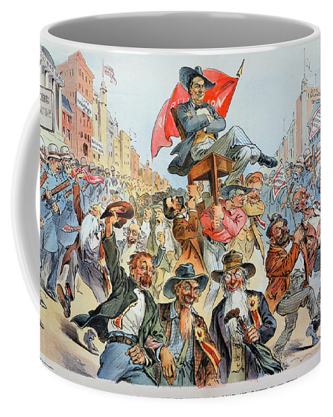 1896 Coffee Mug featuring the photograph W.j. Bryan Cartoon, 1896 by Granger