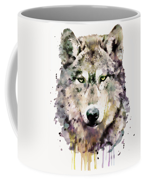 Wolf Coffee Mug featuring the painting Wolf Head by Marian Voicu