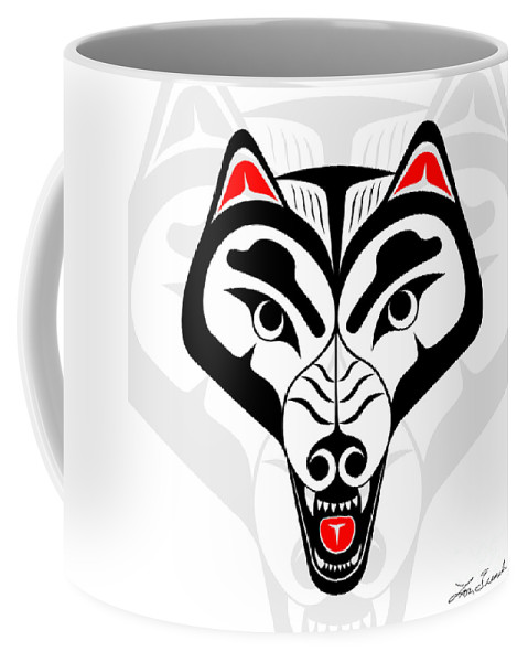 Abstract Coffee Mug featuring the digital art Wolf by Lon French