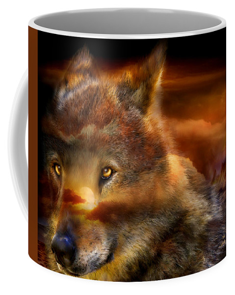 Wolf Coffee Mug featuring the mixed media Wolfland by Carol Cavalaris
