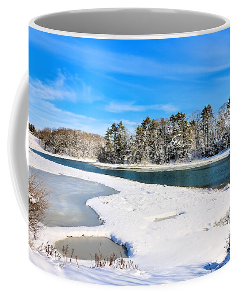 Wolf's Neck Farm Road Coffee Mug featuring the photograph Wolf's Neck Farm Road by Elizabeth Dow