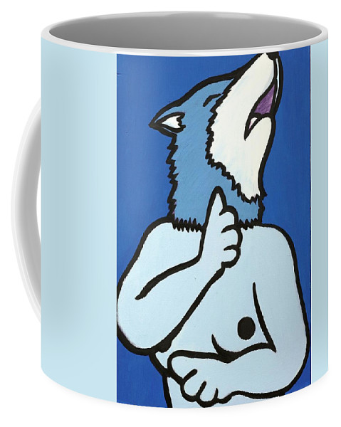 Clay Coffee Mug featuring the painting Wolve by Thomas Valentine