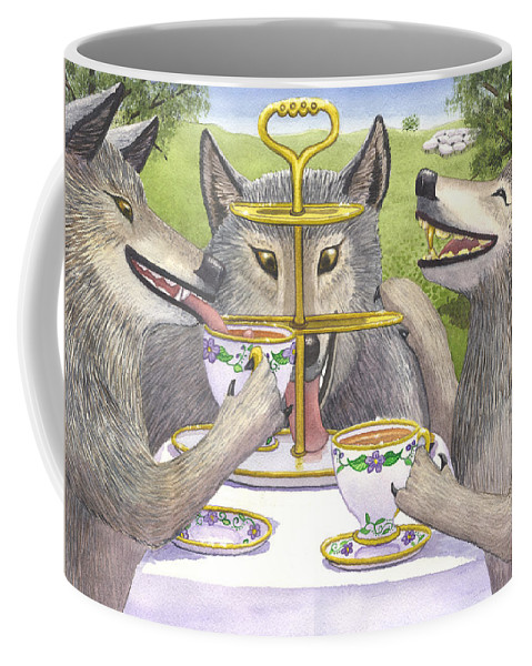 Wolf Coffee Mug featuring the painting Wolves Tea Party by Catherine G McElroy