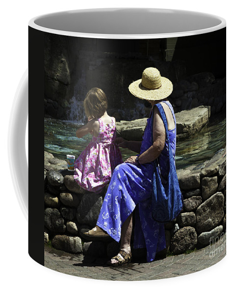Child Coffee Mug featuring the photograph Woman And Child At Pond by Madeline Ellis