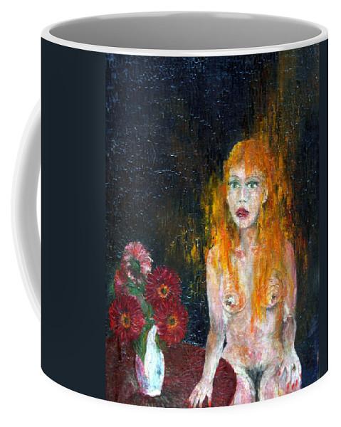 Imagination Coffee Mug featuring the painting Woman And Flowers by Wojtek Kowalski
