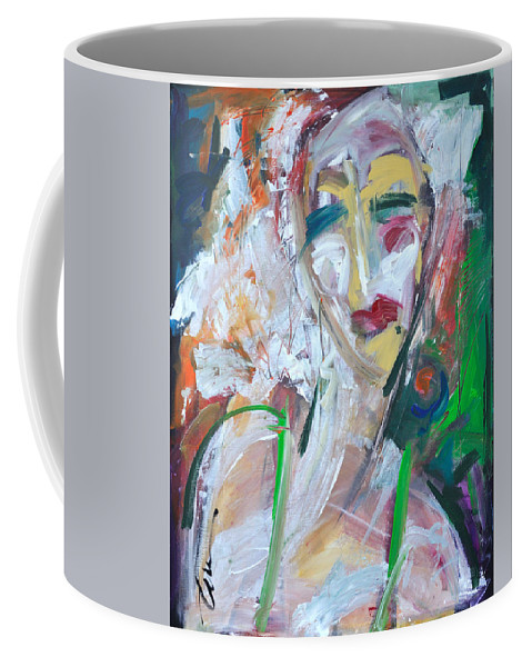 Jazz Coffee Mug featuring the painting Woman At The Jazz Club by Tim Nyberg