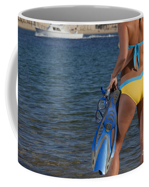 Snorkeling Coffee Mug featuring the photograph Woman Getting Ready To Go Snorkeling by Anthony Totah