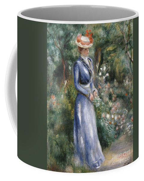 Impressionist; Impressionism; Portrait; Female; Full Length; Woman Coffee Mug featuring the painting Woman In A Blue Dress Standing In The Garden At Saint-cloud by Pierre Auguste Renoir