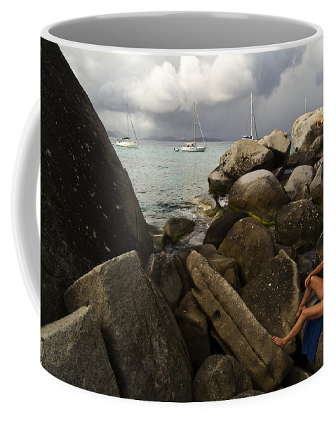 Virgin Gorda Coffee Mug featuring the photograph Woman In Bathing Suit Sitting by Todd Gipstein